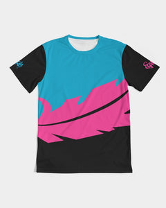 Large Feather - Premium Tee - Electric Blue/ Black / Cyber Pink