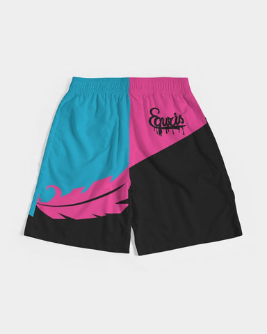 Large Feather - Jogging Shorts- Electric Blue / Black / Cyber Pink-Shorts-Equris