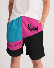 Load image into Gallery viewer, Large Feather - Jogging Shorts- Electric Blue / Black / Cyber Pink-Shorts-Equris