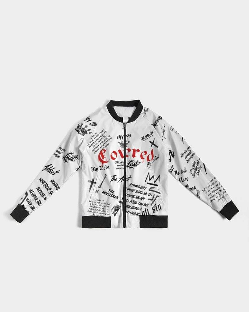 Covered By The Blood Bomber Jacket - White