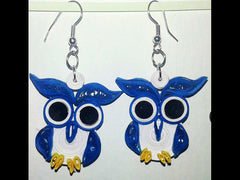 Blue owl birds handmade paper filigree earrings