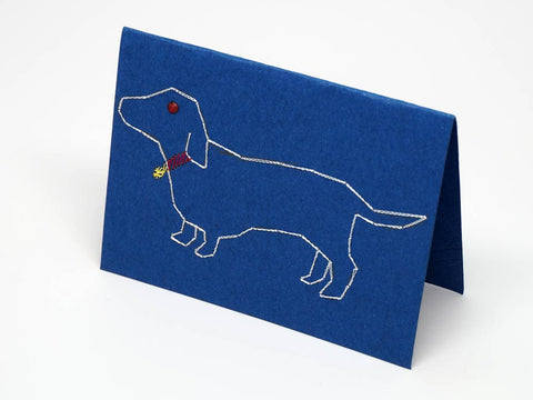 Dog embroidered blue small card