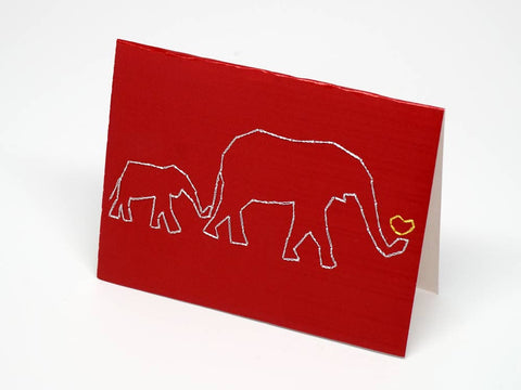 Elephant embroidered red small card