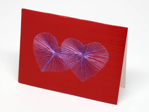 Hearts embroidered red small card