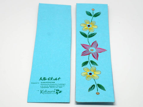 Sky-blue bookmark with embroidered flower