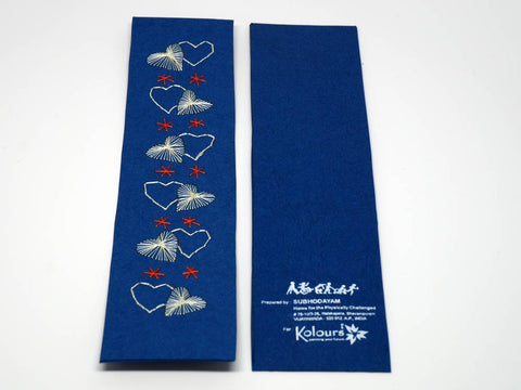 Blue bookmark with romantic  hearts