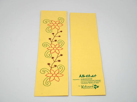 Yellow bookmark with embroidered flowers