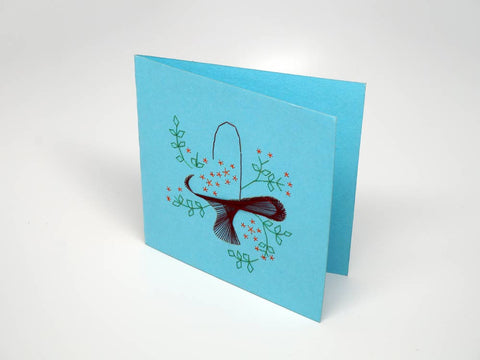 Sky-blue embroidered greeting card