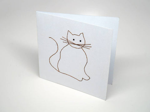 White embroidered greeting card - cat