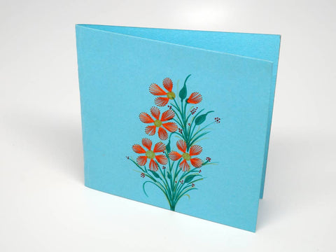 Sky-blue embroidered greeting card - flowers