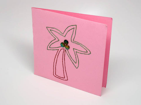 Pink embroidered greeting card - palm