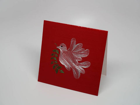 Red embroidered greeting card - dove
