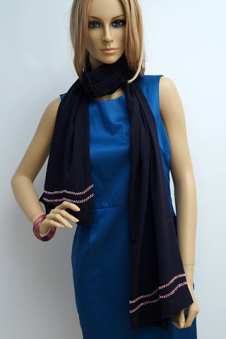 Hand embroidered blue scarf with bead work