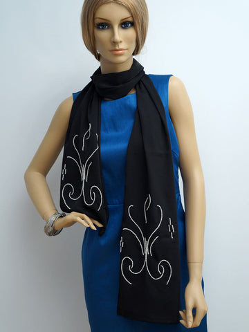 Pearls embroidered dark blue scarf