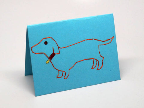 Dog embroidered sky-blue small card