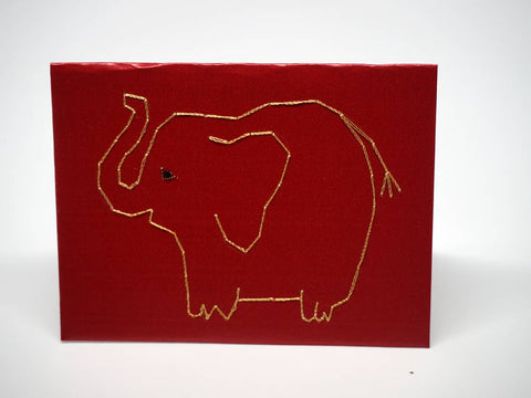 Embroidered red small card with elephant
