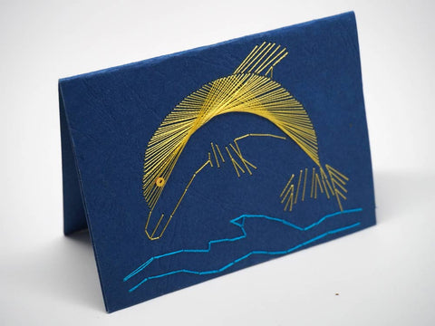Dolphin embroidered blue small card