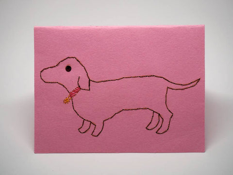 Dog embroidered pink small card