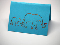 Sky-blue mummy and baby elephant embroidered small card