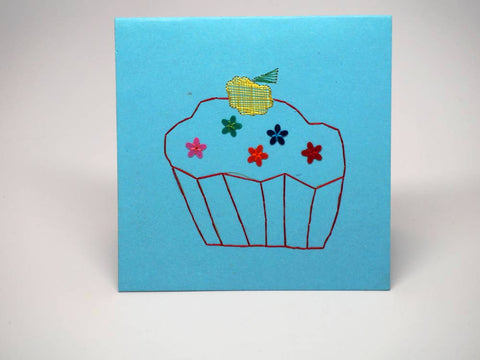 Sky-blue embroidered greeting card - small cake