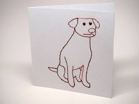 White embroidered greeting card - dog