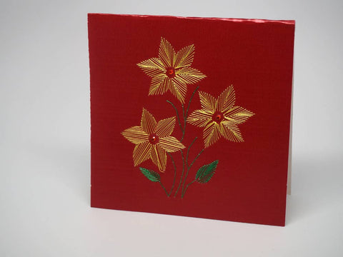 Red embroidered greeting card - flowers
