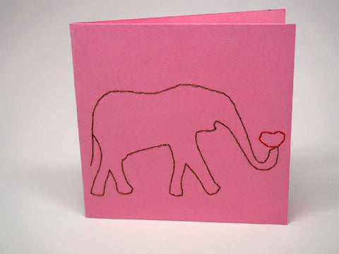 Pink embroidered greeting card - elephant