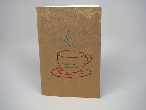 Gold greeting card - cup of coffee