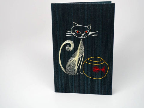 Black embroidered greeting card - cat