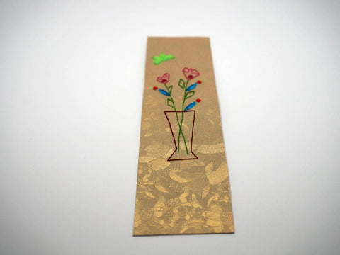 Handmade gold bookmark with flower vase