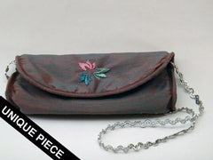 Kolours green pochette with  handmade embroidery