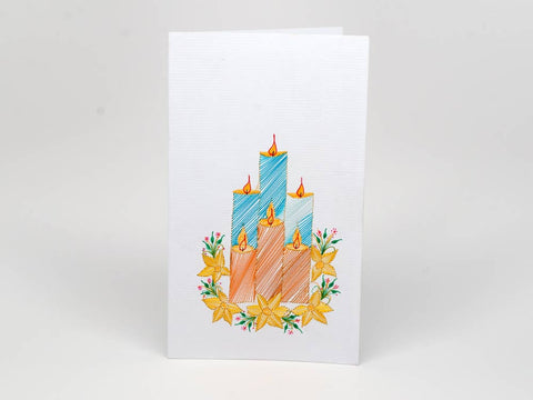 Christmas card - candles handmade embroidery
