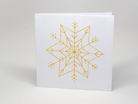Christmas card - star handmade embroidery