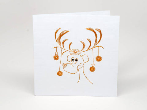 Christmas card - reindeer handmade embroidery
