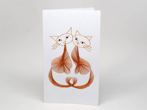 Greeting card - lovely cats emboidery