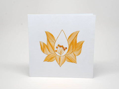 Embroidered greeting card - lotus flower