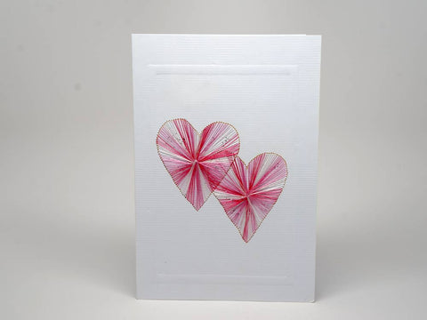 Greeting card - love and hearts emboidery