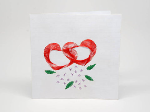 Embroidered greeting card - romantic hearts