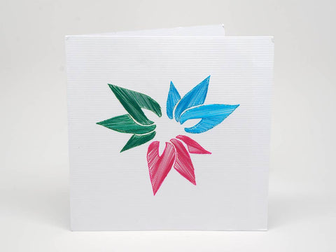 Embroidered greeting card - Kolours flower