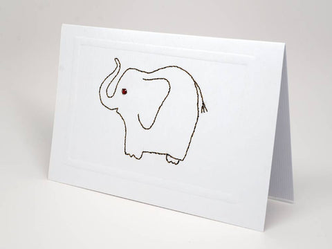 Greeting card - Elephant emboidery