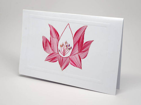 Greeting card - lotus emboidery