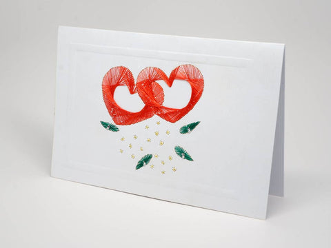 Greeting card - hearts emboidery