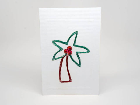 Greeting card - palm tree emboidery