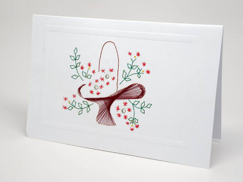 Greeting card - flower basket emboidery