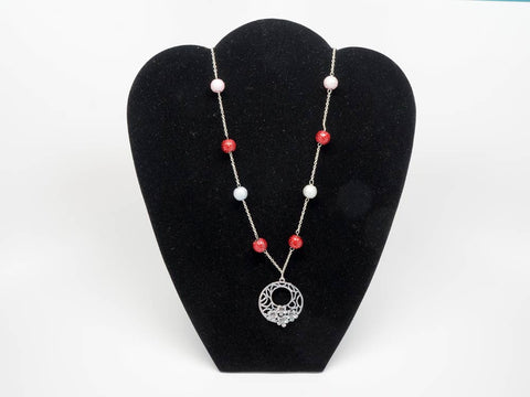 Handmade red and white necklace with pendant