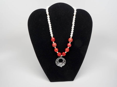 Handmade  necklace with red and white pearls and pendant