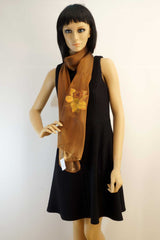 Flower hand painted brown scarf - Italian artist