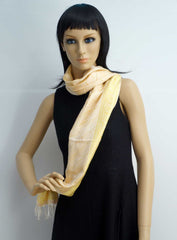 Golden cream pure silk elegant scarf