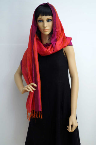 Pure silk light scarf red magenta and red