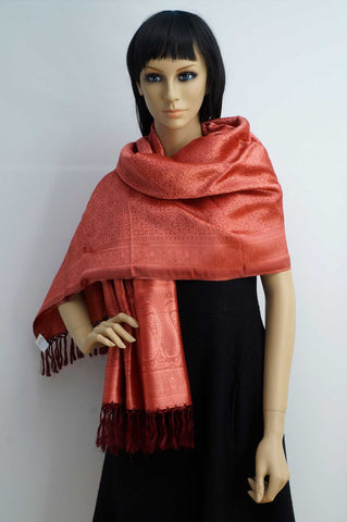 Coral red bright large silk shawl